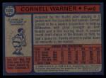 1974 Topps #109  Cornell Warner  Back Thumbnail