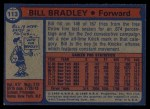 1974 Topps #113  Bill Bradley  Back Thumbnail