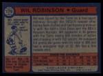 1974 Topps #179  Wil Robinson  Back Thumbnail