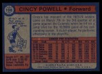 1974 Topps #198  Cincy Powell  Back Thumbnail