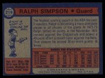 1974 Topps #219  Ralph Sampson  Back Thumbnail