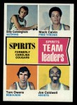 1974 Topps #221   -  Joe Caldwell / Tom Owens / Mack Calvin / Billy Cunningham Spirits Team Leaders Front Thumbnail