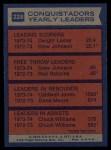 1974 Topps #228   -  Caldwell Jones / Chuck Williams / Dwight Lamar Conquistadors Team Leaders Back Thumbnail