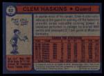 1974 Topps #62  Clem Haskins  Back Thumbnail