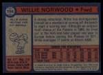 1974 Topps #156  Willie Norwood  Back Thumbnail