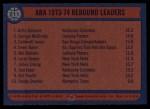 1974 Topps #211   -  Artis Gilmore / George McGinnis / Caldwell Jones ABA Rebound Leaders Back Thumbnail