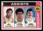 1974 Topps #212   -  Chuck Williams / Louie Dampier / Al Smith ABA Assists Leaders Front Thumbnail