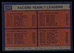 1974 Topps #223   -  Fred Lewis / Billy Keller / George McGinnis Pacers Team Leaders Back Thumbnail