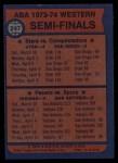 1974 Topps #247   ABA West Semi-Finals Back Thumbnail