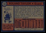 1974 Topps #188  Roland Taylor  Back Thumbnail
