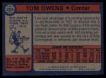 1974 Topps #256  Tom Owens  Back Thumbnail