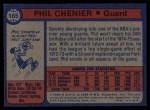 1974 Topps #165  Phil Chenier  Back Thumbnail