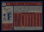 1974 Topps #9  Paul Silas  Back Thumbnail