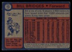 1974 Topps #13  Bill Bridges  Back Thumbnail