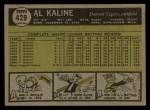 1961 Topps #429  Al Kaline  Back Thumbnail