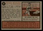 1962 Topps #50  Stan Musial  Back Thumbnail
