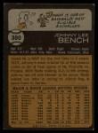 1973 Topps #380  Johnny Bench  Back Thumbnail