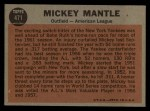 1962 Topps #471   -  Mickey Mantle All-Star Back Thumbnail