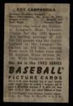1952 Bowman #44  Roy Campanella  Back Thumbnail