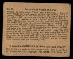 1938 Gum Inc. Horrors of War #45   Surrender of Rebels at Teruel Back Thumbnail