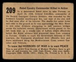 1938 Gum Inc. Horrors of War #209   Rebel Calvary Commander Killed in Action Back Thumbnail