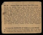 1938 Gum Inc. Horrors of War #25   Chinese Fight Japs Inside Their Own Lines Back Thumbnail