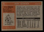 1972 Topps #59  Ron Schock  Back Thumbnail