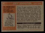 1972 Topps #48  Joey Johnston  Back Thumbnail