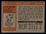 1972 Topps #67  Nick Libett  Back Thumbnail