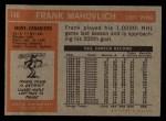 1972 Topps #140  Frank Mahovlich  Back Thumbnail