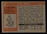 1972 Topps #109  Phil Myre  Back Thumbnail