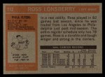 1972 Topps #112  Ross Lonsberry  Back Thumbnail