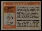 1972 Topps #136  Barclay Plager  Back Thumbnail
