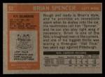 1972 Topps #53  Brian Spencer  Back Thumbnail