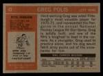 1972 Topps #43  Greg Polis  Back Thumbnail