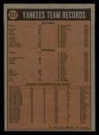 1972 Topps #237   Yankees Team Back Thumbnail