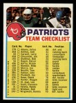 1974 Topps Football Team Checklists #16   Patriots Team Checklist Front Thumbnail