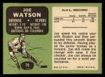 1970 Topps #79  Joe Watson  Back Thumbnail