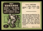 1970 Topps #21  Roy Edwards  Back Thumbnail