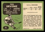 1970 Topps #65  Ted Irvine  Back Thumbnail