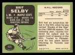 1970 Topps #111  Brit Selby  Back Thumbnail