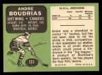 1970 Topps #121  Andre Boudrias  Back Thumbnail