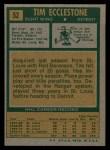 1971 Topps #52  Tim Ecclestone  Back Thumbnail