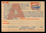 1956 Topps #0   Contest Card Nov 25 - Bears vs. Giants Back Thumbnail