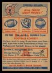 1956 Topps   Contest Card Nov 25 - Bears vs. Giants Front Thumbnail