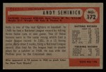 1954 Bowman #172  Andy Seminick  Back Thumbnail