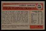 1954 Bowman #169  Larry Jansen  Back Thumbnail