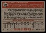 1952 Topps #210  Dick Fowler  Back Thumbnail