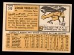 1963 Topps #349  Zorro Versalles  Back Thumbnail