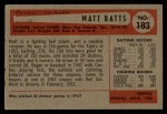 1954 Bowman #183  Matt Batts  Back Thumbnail